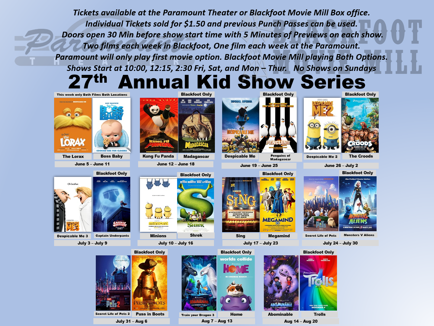 2020 Kid Show Series Royal Theaters